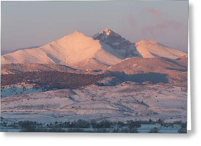 Longs Peak Sunrise In Winter Greeting Card by Aaron Spong