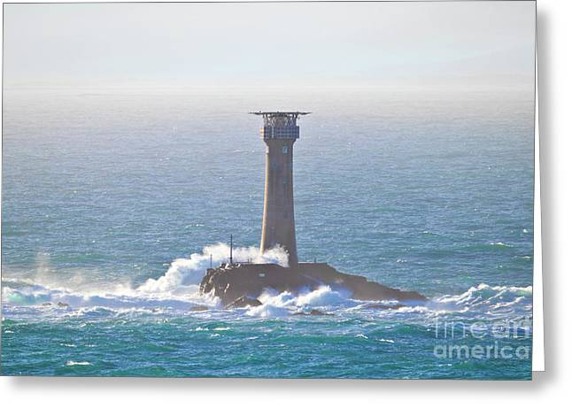 Longships Lighthouse From Pedn-men-du Greeting Card by Terri Waters