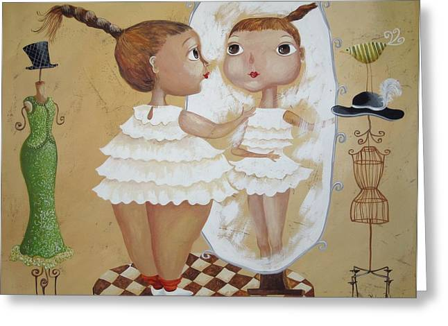 Girl And Animals Framed Prints Greeting Cards - Look alike Greeting Card by Yelena Dyumin
