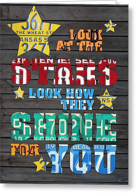 Look At The Stars Coldplay Yellow Inspired Typography Made Using Vintage Recycled License Plates Greeting Card by Design Turnpike