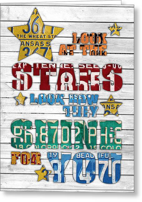 Look At The Stars Coldplay Yellow Inspired Typography Made Using Vintage Recycled License Plates V2 Greeting Card by Design Turnpike