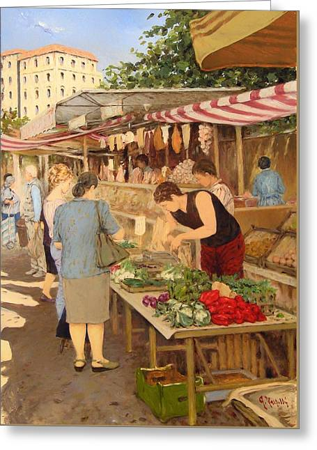 Italian Shopping Paintings Greeting Cards - Look Stalls In The Square In Milan Greeting Card by Guido Marzulli