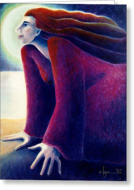 Look To The Moon Greeting Card by Angela Treat Lyon
