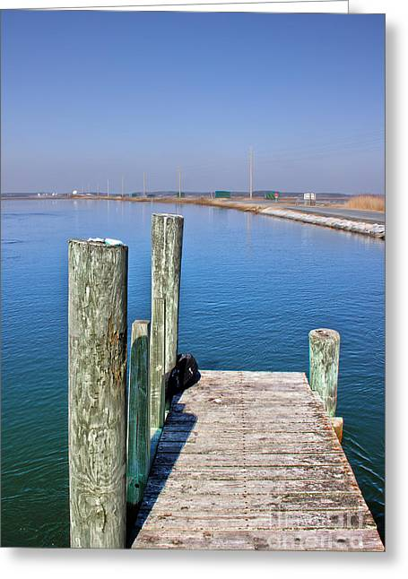 Wooden Platform Greeting Cards - Looking at Wallop Island Greeting Card by Tom Gari Gallery-Three-Photography