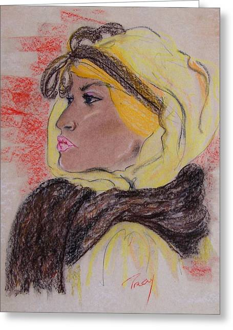 Scarf Pastels Greeting Cards - Looking Back Greeting Card by Tracey Dorman