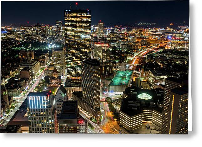Looking Down On Boston Boston Ma Greeting Card by Toby McGuire