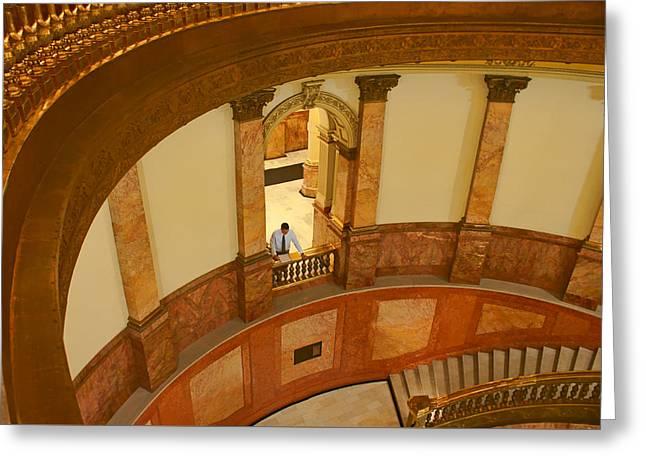 Man Looking Down Greeting Cards - Looking Down - Rotunda - Denver Capitol Greeting Card by Nikolyn McDonald