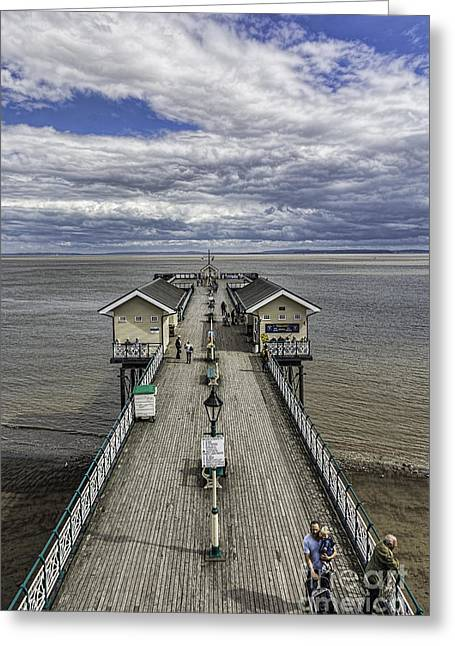 Wooden Building Greeting Cards - Looking Down The Pier 2 Greeting Card by Steve Purnell