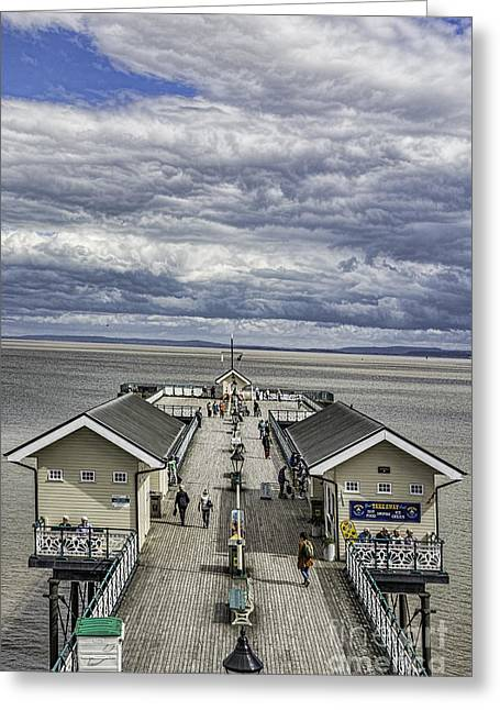 Wooden Building Greeting Cards - Looking Down The Pier 3 Greeting Card by Steve Purnell