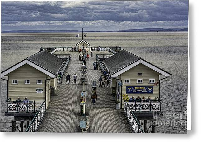 Wooden Building Greeting Cards - Looking Down The Pier 4 Greeting Card by Steve Purnell