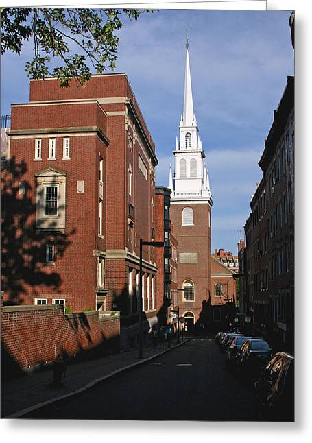 Old North Church Greeting Cards - Looking East Towards the Old North Church Greeting Card by Brian M Lumley