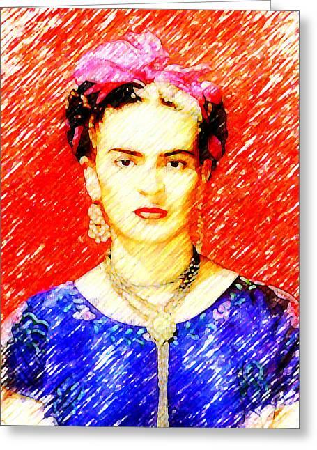 Madalena Lobao-tello Greeting Cards - Looking for Frida Kahlo Greeting Card by Madalena Lobao-Tello