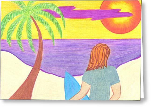Surfboard Greeting Cards - Looking for Waves Greeting Card by Geree McDermott