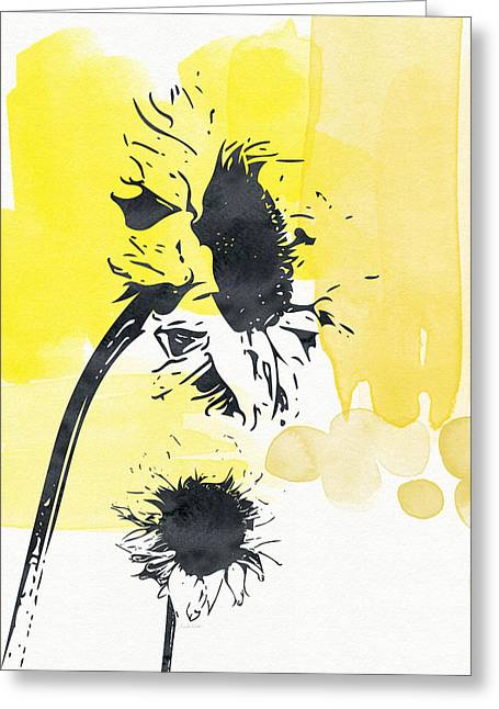 Sunflower Decor Greeting Cards - Looking Forward- Art by Linda Woods Greeting Card by Linda Woods