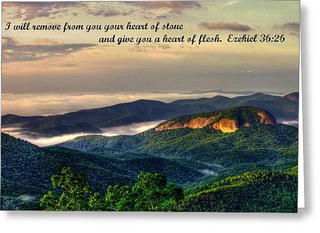 Looking Glass Rock Scripture Art Greeting Card by Reid Callaway
