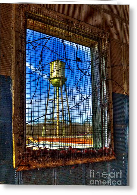 Glass Wall Photographs Greeting Cards - Looking Inside Out Mary Leila Cotton Mill Greeting Card by Reid Callaway