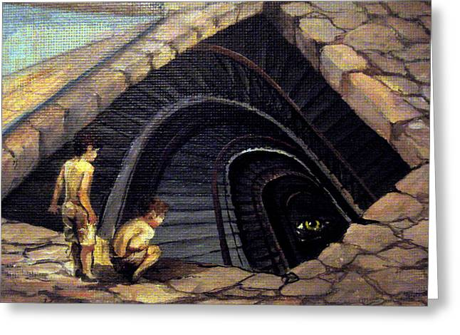 Basement Paintings Greeting Cards - Looking Into Abyss Greeting Card by Mikhail Savchenko