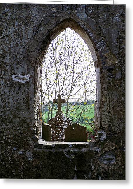 Religious Icon Greeting Cards - Looking Out Fuerty Church Roscommon Ireland Greeting Card by Teresa Mucha