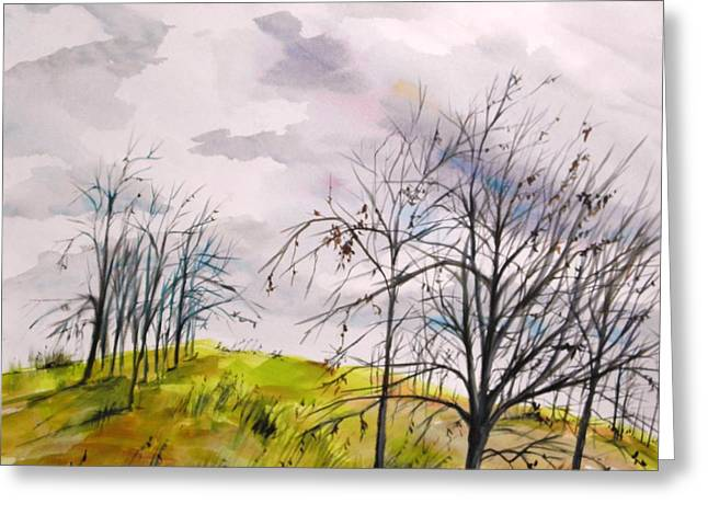 Winter Storm Drawings Greeting Cards - Looking Past to the Changing Sky Greeting Card by John  Williams