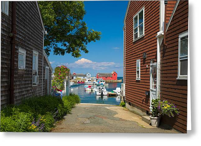 Cape Neddick Lighthouse Greeting Cards - Looking Rockport Greeting Card by Emmanuel Panagiotakis