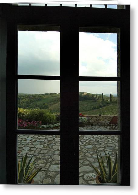 Looking Through A Window To The Rolling Greeting Card by Todd Gipstein