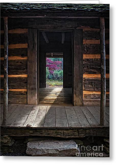 Log Cabins Greeting Cards - Looking Through John Olivers Cabin Greeting Card by Priscilla Burgers