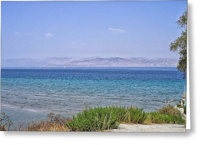 Ionian Island Greeting Cards - Greek Island Blues  Greeting Card by Connie Handscomb