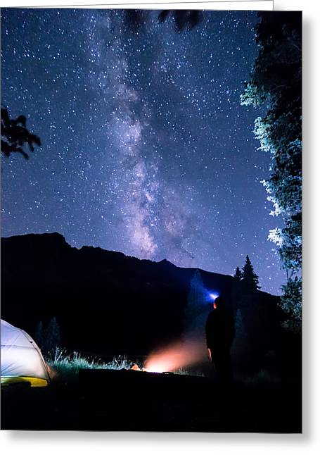 Looking Up At Milky Way Greeting Card by Michael J Bauer