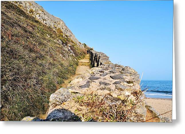 Stepping Stones Greeting Cards - Looking Up from Barafundle Bay  Greeting Card by David G Bevan