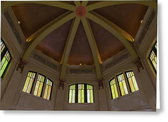 Scenic Drive Greeting Cards - Looking Up In Vista House Greeting Card by Paul Rebmann