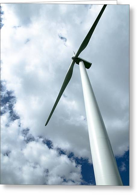 Industrial Background Greeting Cards - Looking up into Harnesing the Wind Greeting Card by Jim Finch
