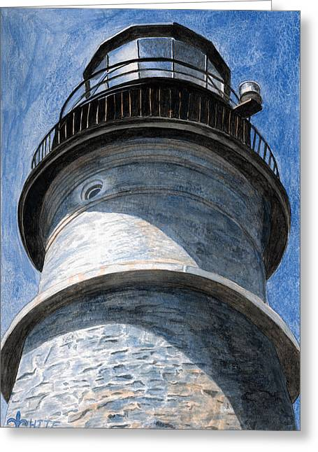 Maine Lighthouses Paintings Greeting Cards - Looking Up Portland Head Light Greeting Card by Dominic White
