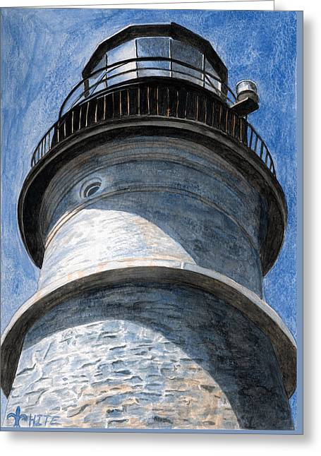 Looking Up Portland Head Light Greeting Card by Dominic White