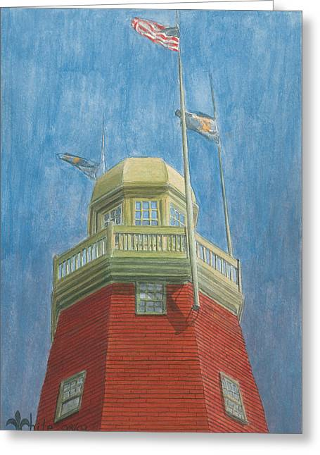 New England Lighthouse Paintings Greeting Cards - Looking Up Portland Observatory Greeting Card by Dominic White