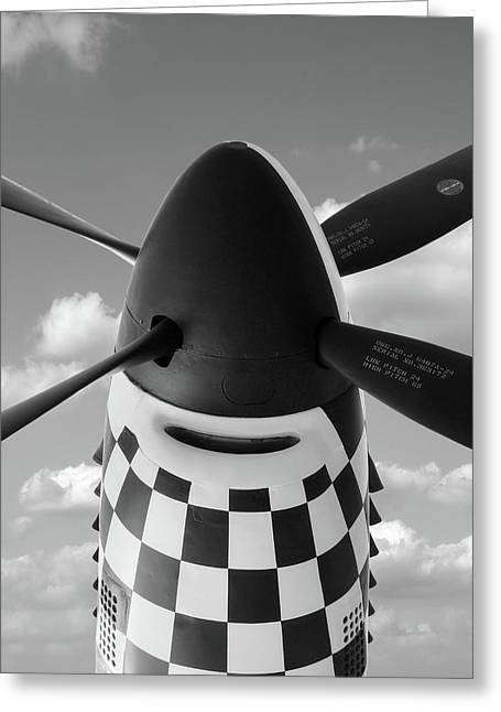 Looking Up To The P-51 Greeting Card by Gill Billington