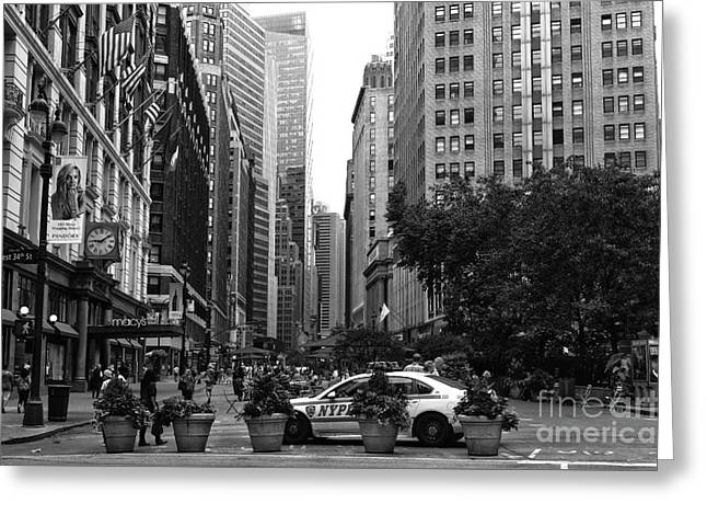 Ny Police Department Greeting Cards - Looking Uptown mono Greeting Card by John Rizzuto
