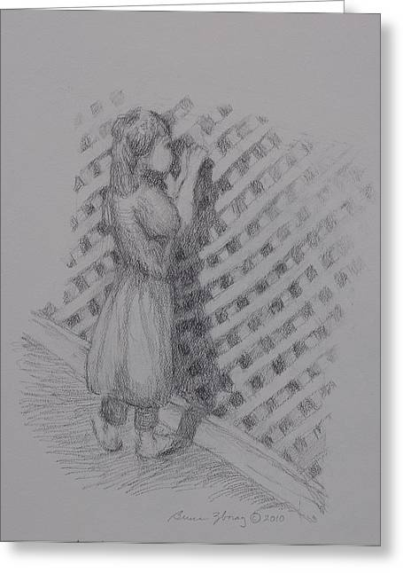 Contemplative Drawings Greeting Cards - Looking Within Greeting Card by Bruce Zboray