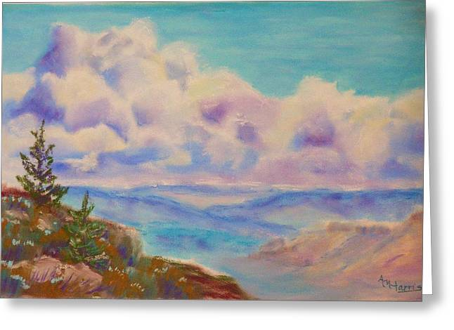 Oregon Pastels Greeting Cards - Lookout North Greeting Card by Angela  Harris