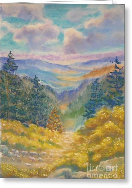 Oregon Pastels Greeting Cards - Lookout South Greeting Card by Angela  Harris