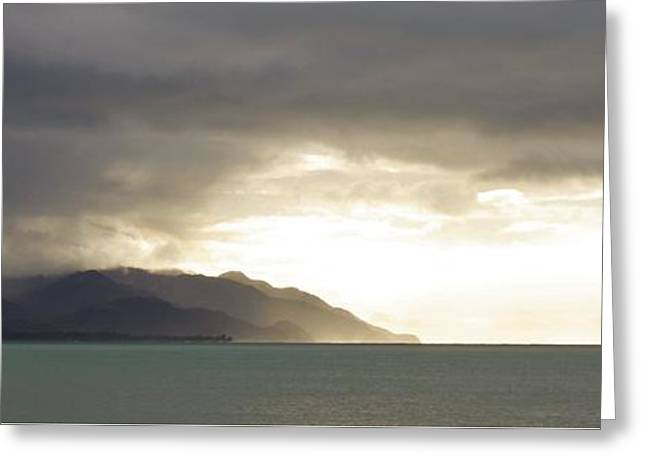 Panoramic Ocean Greeting Cards - Looming Storm Greeting Card by Ashly McHatton