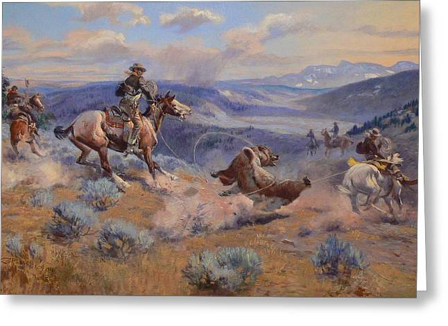 Western Tie Greeting Cards - Loops And Swift Horses Are Surer Than Lead Greeting Card by Charles Marion Russell
