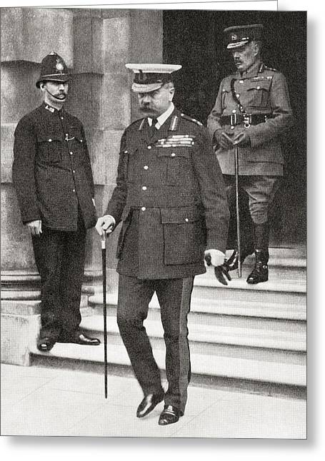 1916 Drawings Greeting Cards - Lord Kitchener Leaving The War Office Greeting Card by Vintage Design Pics