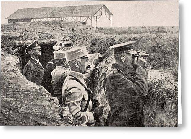 Wwi Greeting Cards - Lord Kitchener With Binoculars With Greeting Card by Ken Welsh