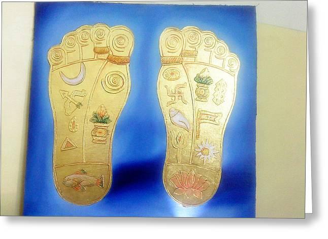 Feet Jewelry Greeting Cards - Lord Laxmi ji feet. Greeting Card by Rohit kumar Vohra