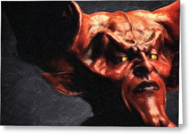 80s Paintings Greeting Cards - Lord of Darkness Greeting Card by Taylan Soyturk