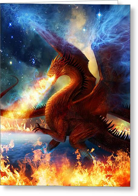 Dragons Greeting Cards - Lord of the Celestial Dragons Greeting Card by Philip Straub