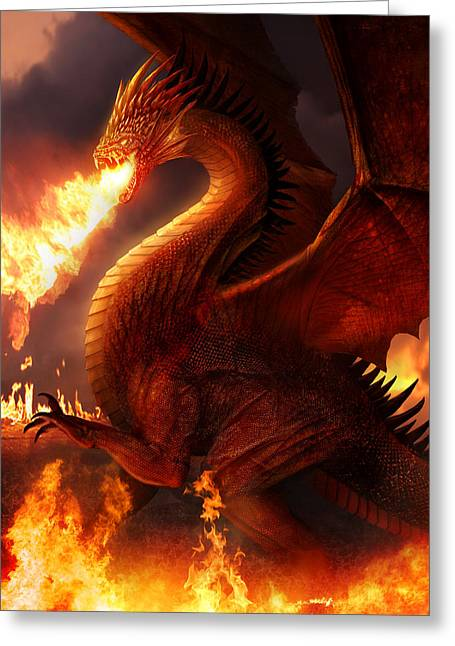 Dragons Greeting Cards - Lord of the Dragons Greeting Card by Philip Straub