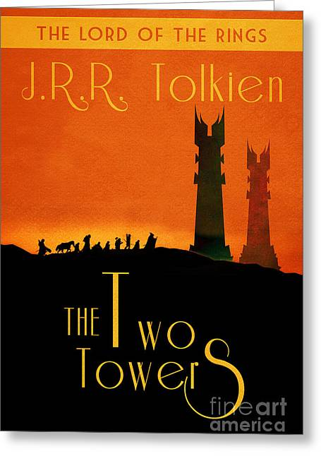 Lord Of The Rings The Two Towers Book Cover Movie Poster Art 1 Greeting Card by Nishanth Gopinathan