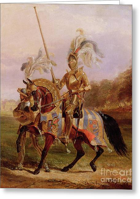 Victor Greeting Cards - Lord of the Tournament Greeting Card by Edward Henry Corbould
