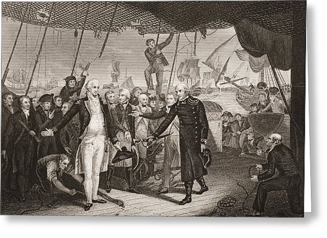 Winter Prints Drawings Greeting Cards - Lord Viscount Duncan S Victory. Admiral Greeting Card by Ken Welsh